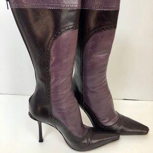 Jimmy Choo purple Leather Back-Zip Booties SZ 6 36